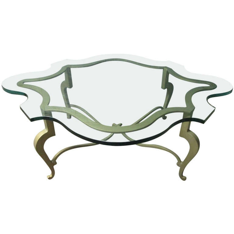 Iron Scalloped Edge And Glass Coffee Table For Sale At 1stdibs