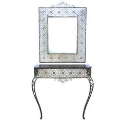 Art Deco Console Table with Matching Mirror Attributed to Oscar Bach