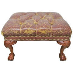 Vintage Leather Footstool SATURDAY SALE ONLY