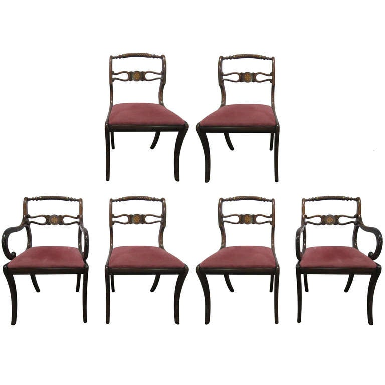 Six Rosewood English Regency Style Dining Room Chairs At