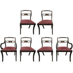 Six Rosewood English Regency Style Dining Room Chairs