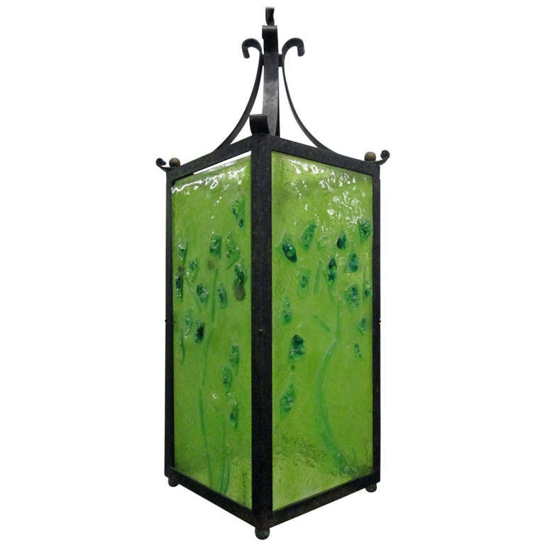 art glass and wrought iron light fixture at 1stdibs. Black Bedroom Furniture Sets. Home Design Ideas