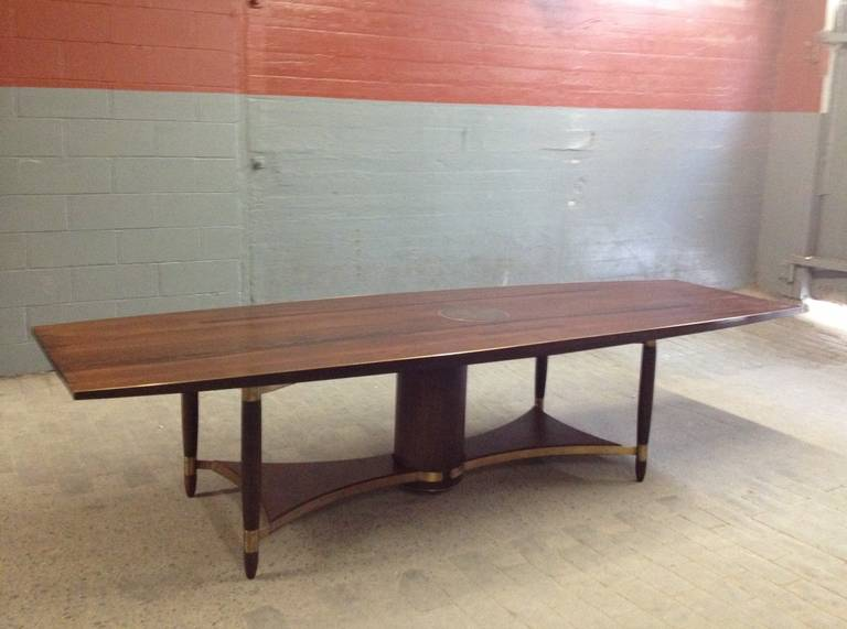 Large Wenge Wood Dining or Conference Table with Bronze Trim For