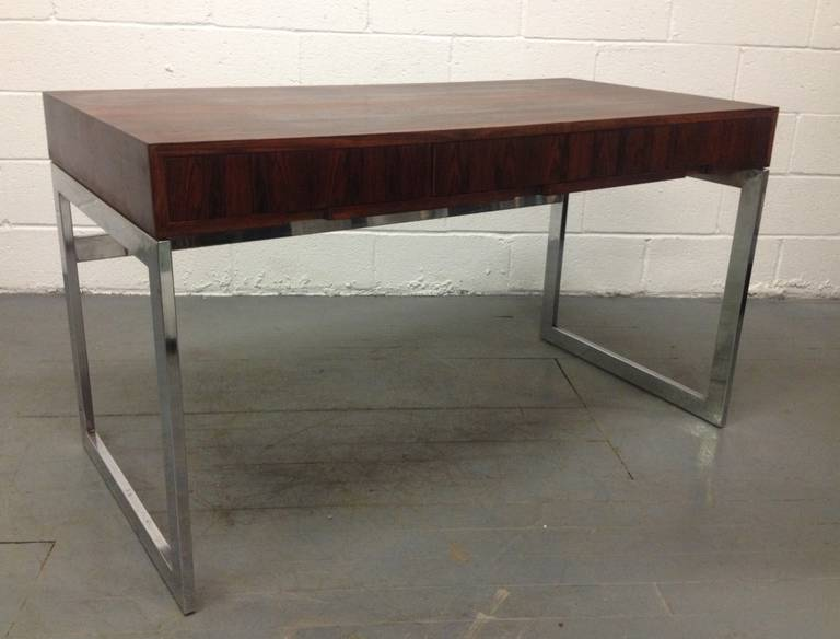 American Milo Baughman Style Rosewood and Chrome Desk For Sale
