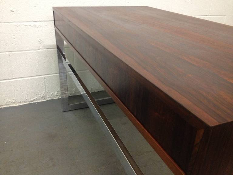 Late 20th Century Milo Baughman Style Rosewood and Chrome Desk For Sale