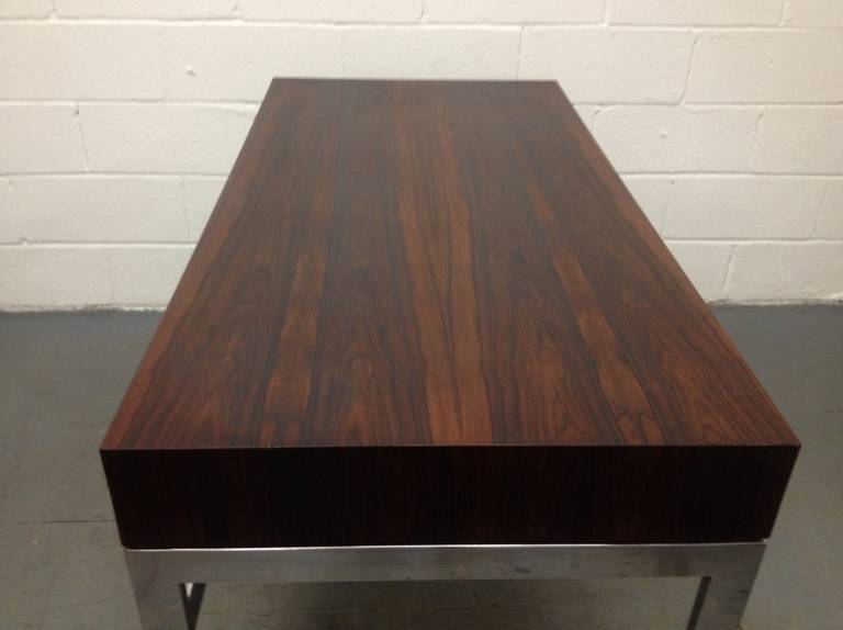 Milo Baughman Style Rosewood and Chrome Desk For Sale 1
