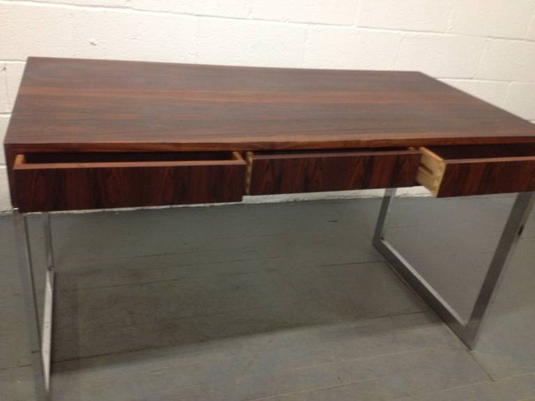 Milo Baughman Style Rosewood and Chrome Desk For Sale 2