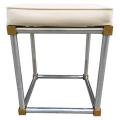 Chrome and Brass Stool, Style of Maison Jansen