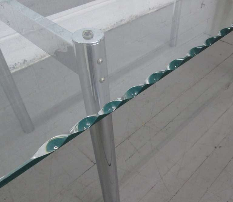 Chrome W Scalloped Edge Glass Top Table At 1stdibs