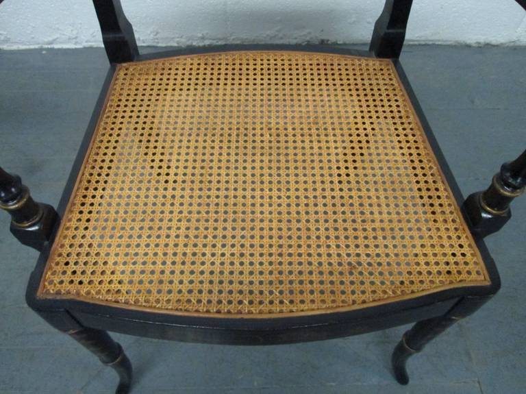 Wood Pair of Sheraton Style Stenciled Armchairs For Sale