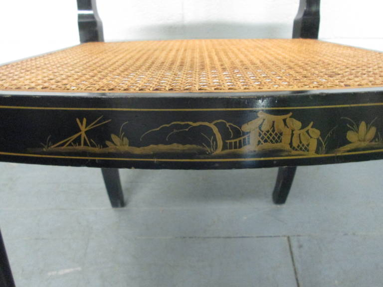 20th Century Pair of Sheraton Style Stenciled Armchairs For Sale