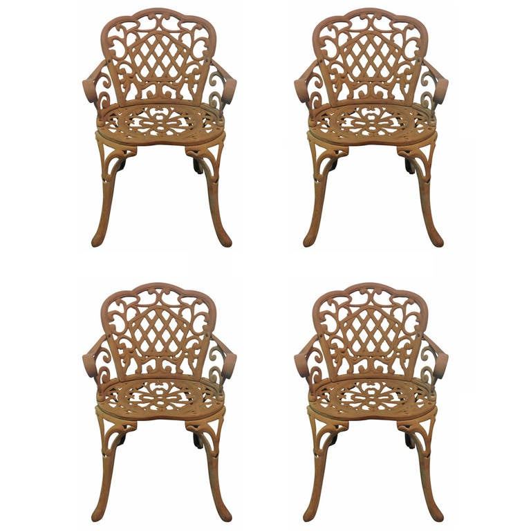 Four cast iron garden chairs at 1stdibs Cast iron garden furniture