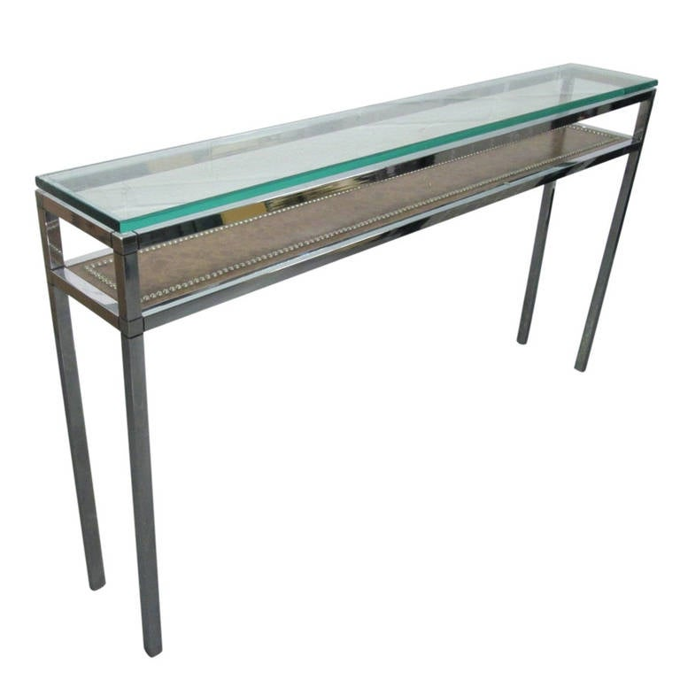 Narrow chrome console table at 1stdibs for Narrow cocktail table