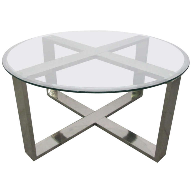 Chrome X Base Round Coffee Table At 1stdibs