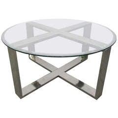 Chrome X Base Round Coffee Table
