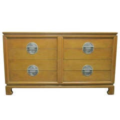 Asian Style Dresser with Nickel Handles in the Manner of James Mont