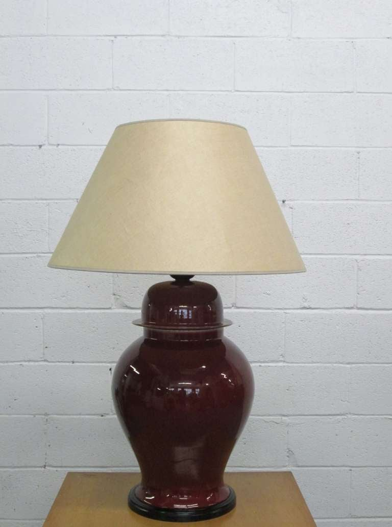 Large Italian ceramic burgundy urn lamp. Measures: 36