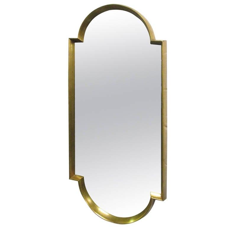 Sculptural Mirror with Gold Leaf Frame