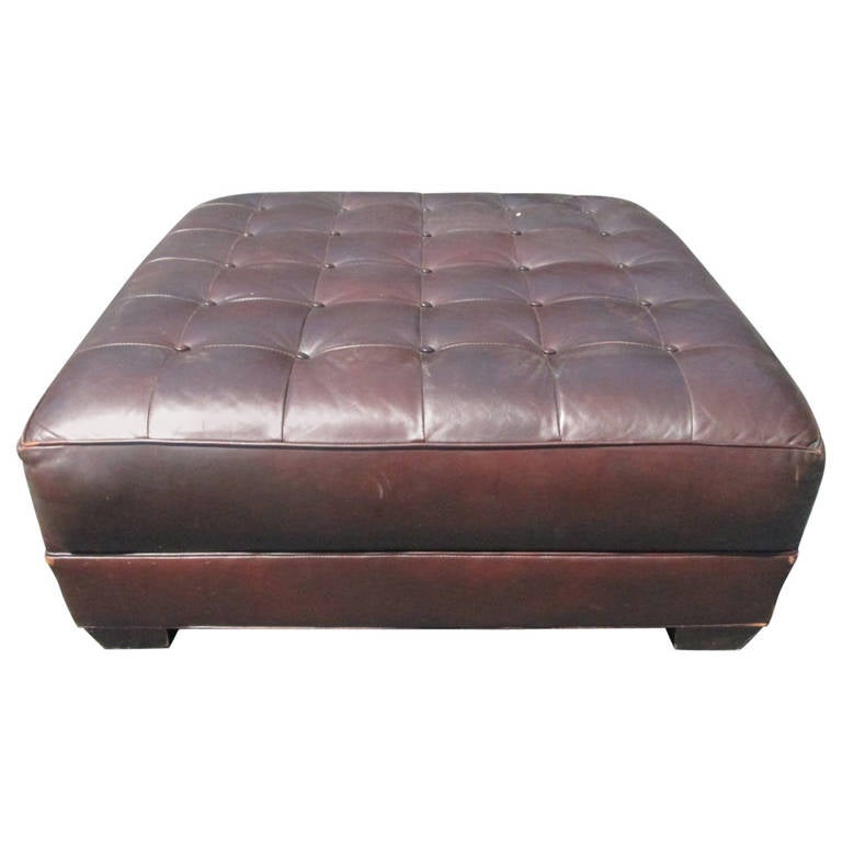 Oversized Leather Tufted Bench Ottoman For Sale At 1stdibs