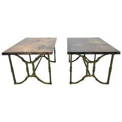 Pair of Aldo Tura Goatskin End Tables
