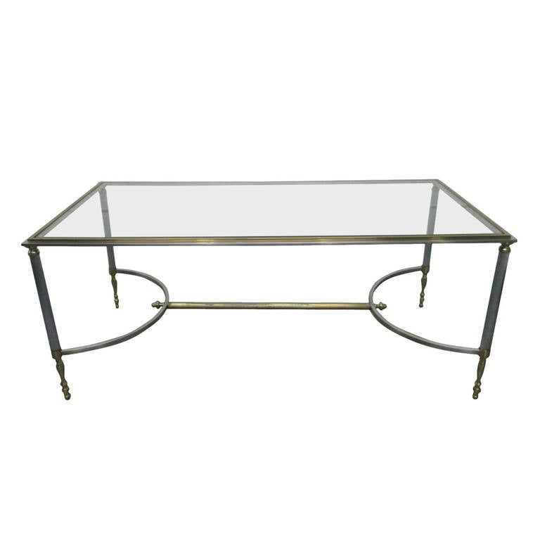 Maison Jansen Polished Steel And Brass Coffee Table For