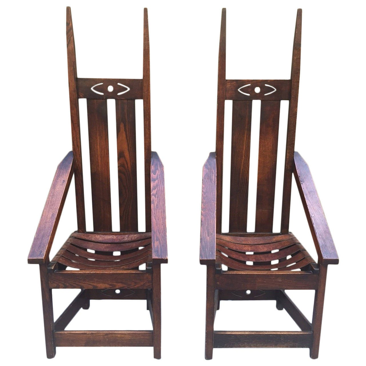Pair Of High Back Mission Chairs In The Style Of Charles Rohlfs For Sale At 1stdibs