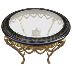 Italian Bronze Table with Ebonized Top and Mother-of-Pearl Inlay