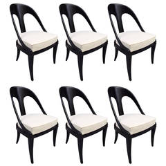 Six Neoclassical Style Lacquered Spoon Back Chairs