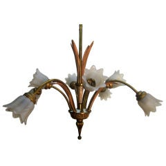 Italian Bronze and Glass Chandelier or Light Fixture