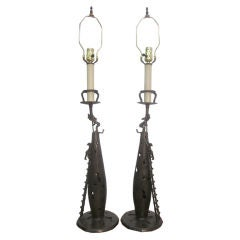 Pair of Asian Bronze Table Lamps with Asian Figures