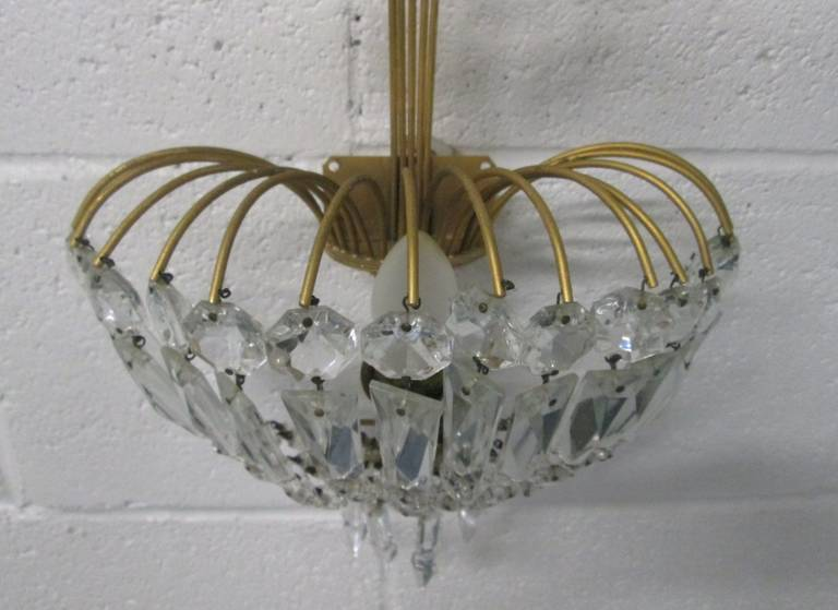 Pair of French Gilt Bronze and Crystal Sconces For Sale 1