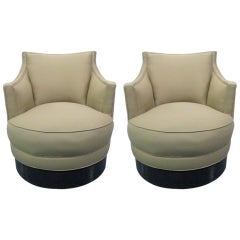 Pair Upholstered Swivel Chairs style of Milo Baughman