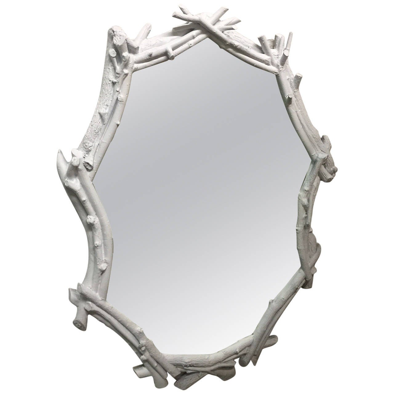 White Plaster Twig Mirror For Sale at 1stdibs