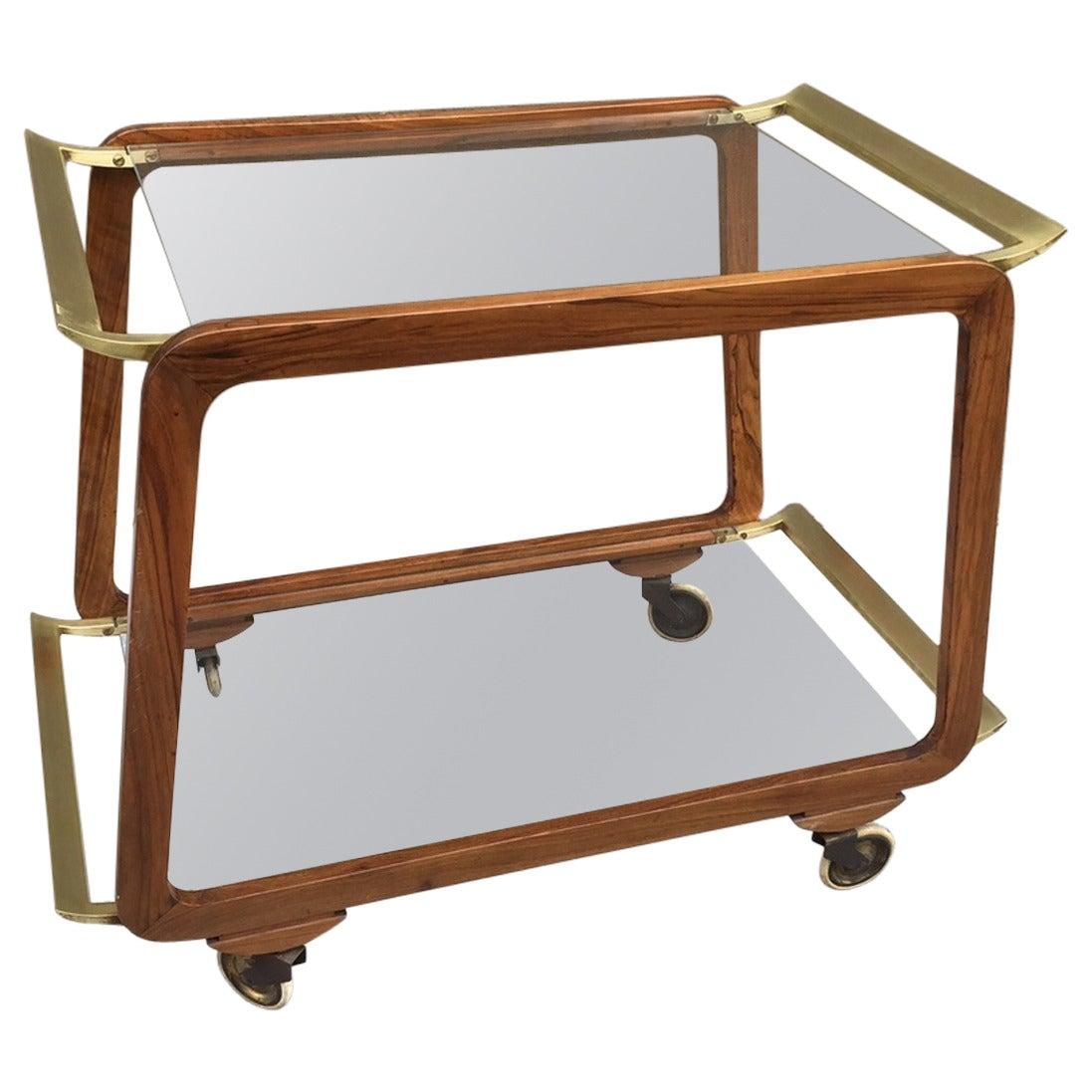 austrian walnut and brass bar cart for sale at 1stdibs. Black Bedroom Furniture Sets. Home Design Ideas