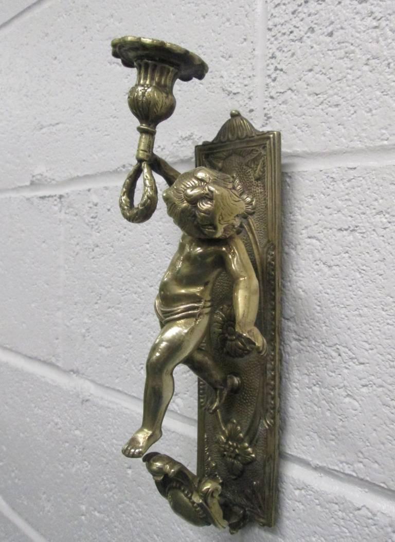 Brass Cherub Wall Sconces : Pair of Bronze Cherub Sconces For Sale at 1stdibs