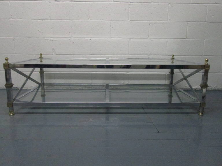 Maison Jansen Style Chrome and Brass Coffee Table In Good Condition For Sale In New York, NY