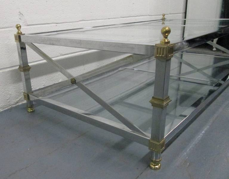 Mid-20th Century Maison Jansen Style Chrome and Brass Coffee Table For Sale