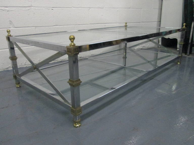 Maison Jansen French Style Coffee Table. Table Has X Stretcher To The Sides,
