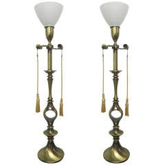 Pair of Brass Decorative Lamps, Mont Style