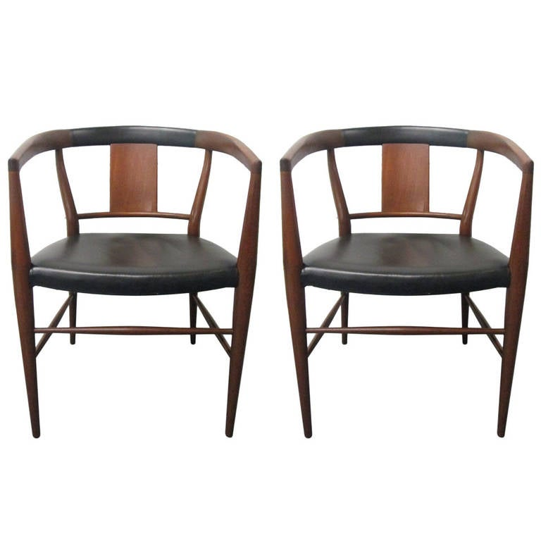 Pair of Heritage Henredon Leather Dining Armchairs For Sale at 1stdibs