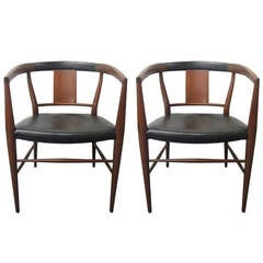 Pair of Heritage Henredon Leather Dining Armchairs