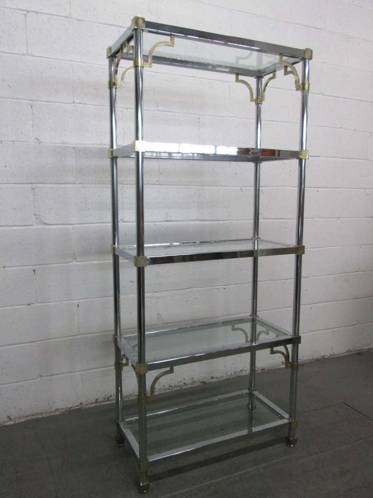 Maison jansen style brass and chrome etagere for sale at 1stdibs - Etagere faite maison ...