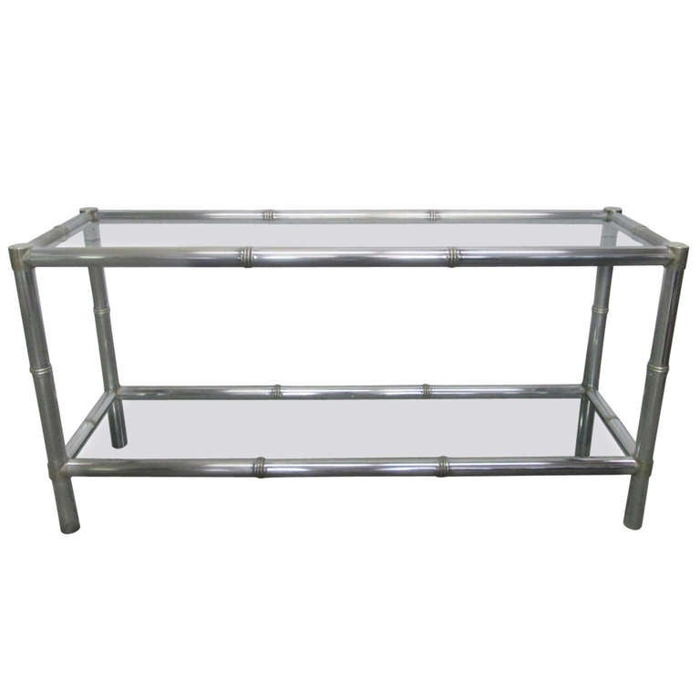 Faux Bamboo Two Tier Console Table For Sale At 1stdibs