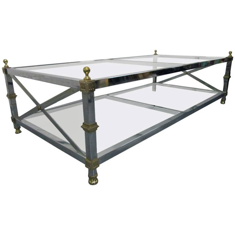 Maison Jansen Style Chrome And Brass Coffee Table 1
