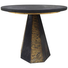 Round Slate-Top Table by Paul Evans