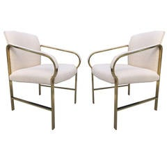 Pair of Decorative Sculptural Brass Finish Side Chairs