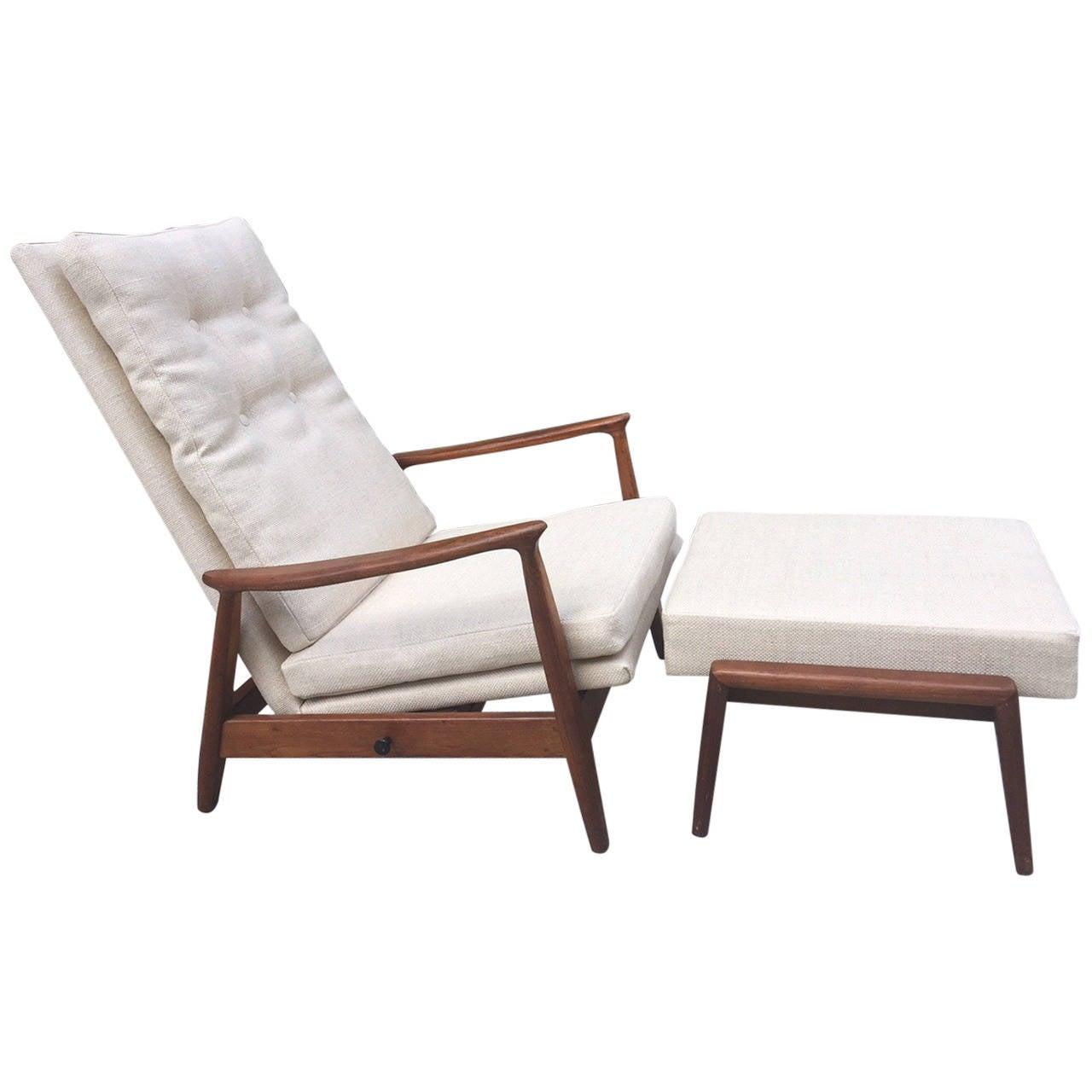 Milo Baughman Reclining Chair and Ottoman in Linen