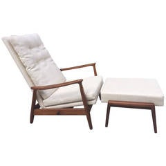 Milo Baughman Reclining Chair and Ottoman in Linen