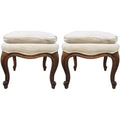Pair of Walnut French Napoleon III Style Stools