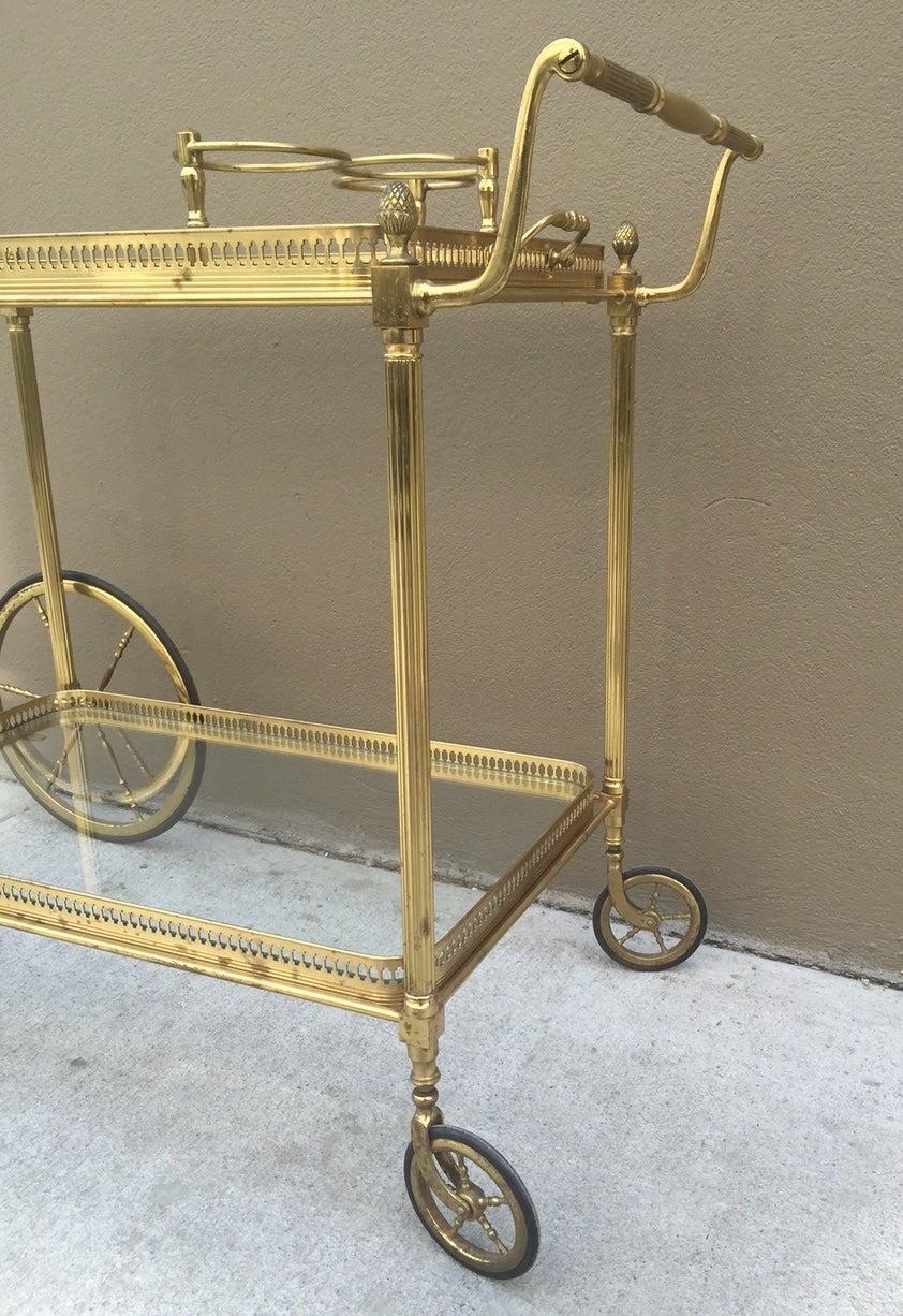 brass italian bar cart for sale at 1stdibs. Black Bedroom Furniture Sets. Home Design Ideas